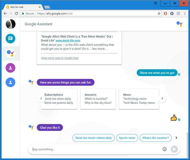 Google Allo in Chrome