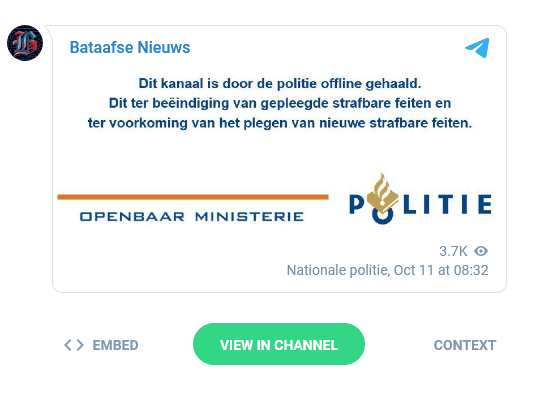 Telegram-banner OM en Politie Bataafse Nieuws
