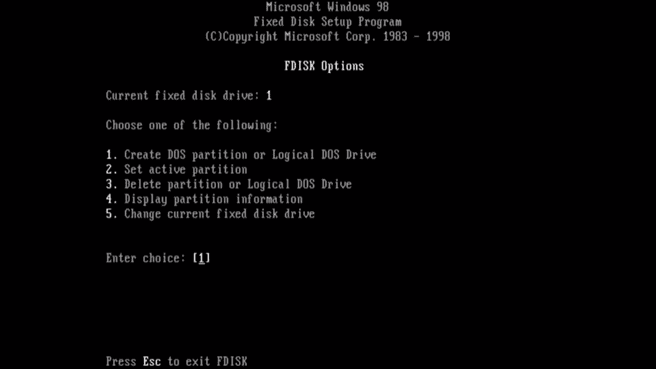Een primaire partitie maken via F-Disk