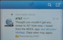 Impressie van promoted tweet tijdens tv-programma (bron: The Verge)