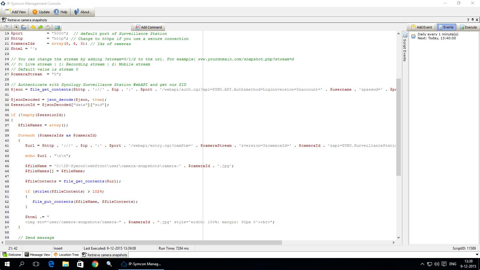 IP-Symcon managament console - script editen