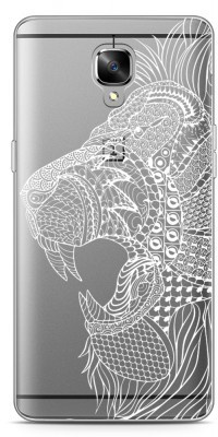 Just in Case OnePlus 3 / OnePlus 3T Hoesje Leeuw Mandala Wit