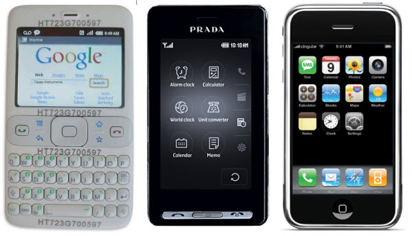 Android-proto van HTC, LG Prada en Apple iPhone, alle uit 2007