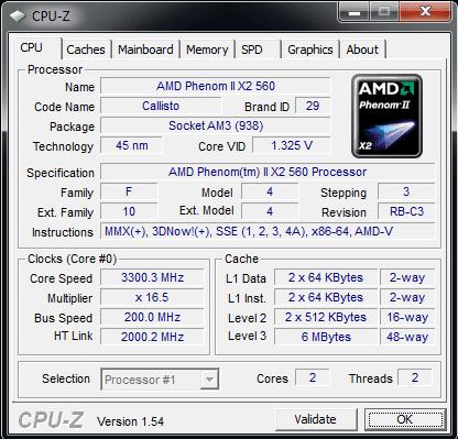 AMD Phenom II X2 560 stock