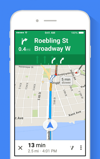 Google Maps iOS screen