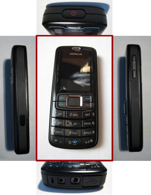 Hier zijn alle kanten van de Nokia 3110 Classic (zwart) zichtbaar behalve de achterkant