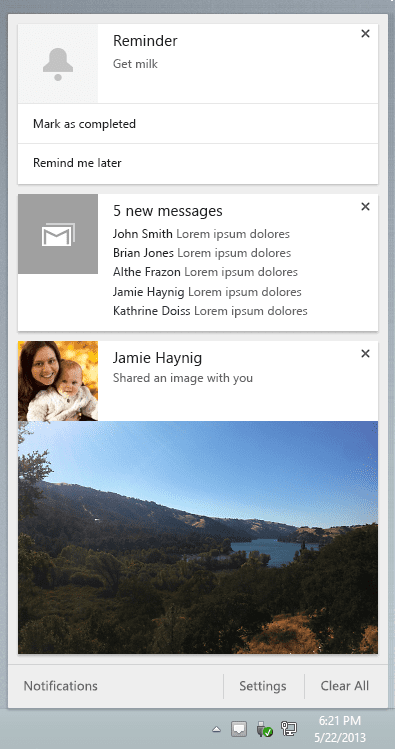 Google Chrome notification center