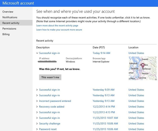 Microsoft account activiy