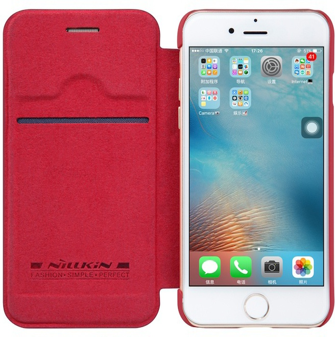Nillkin Qin PU Leather Book Case - Apple iPhone 7 Rood