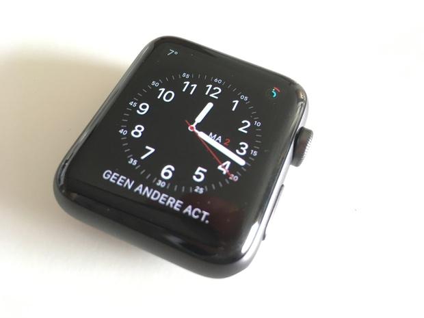 Mijn watchface met de tijd, Agenda, Activiteit en datum.