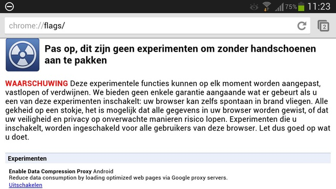 Datacompressie in Chrome Beta voor Android