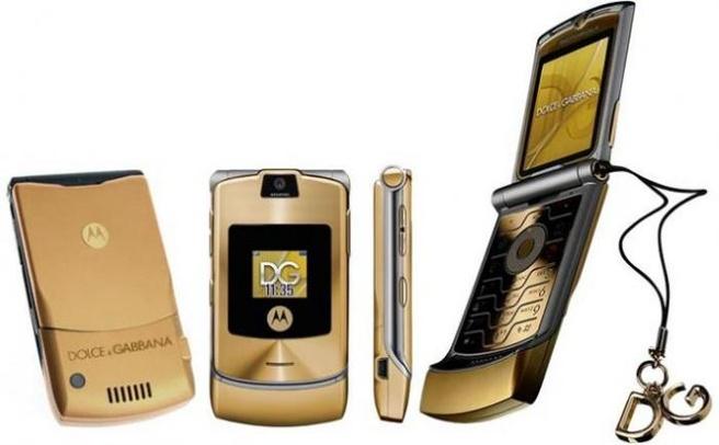 Motorola Razr, de oude versie in het goud
