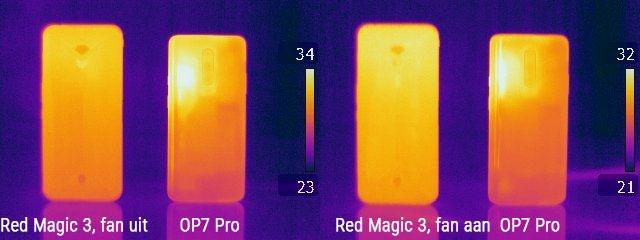 Red Magic 3 en OnePlus 7 Pro, infraroodbeeld