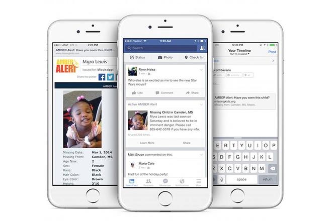 Amber-alert in tijdlijn van Facebook