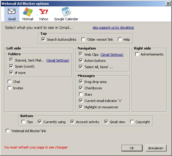 Webmail Adblocker Gmail voorkeuren
