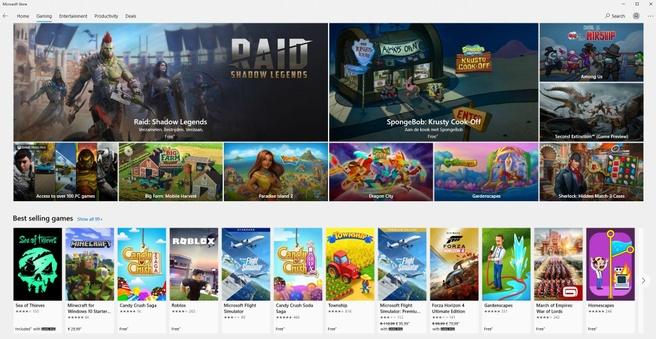 Games in Microsoft Store