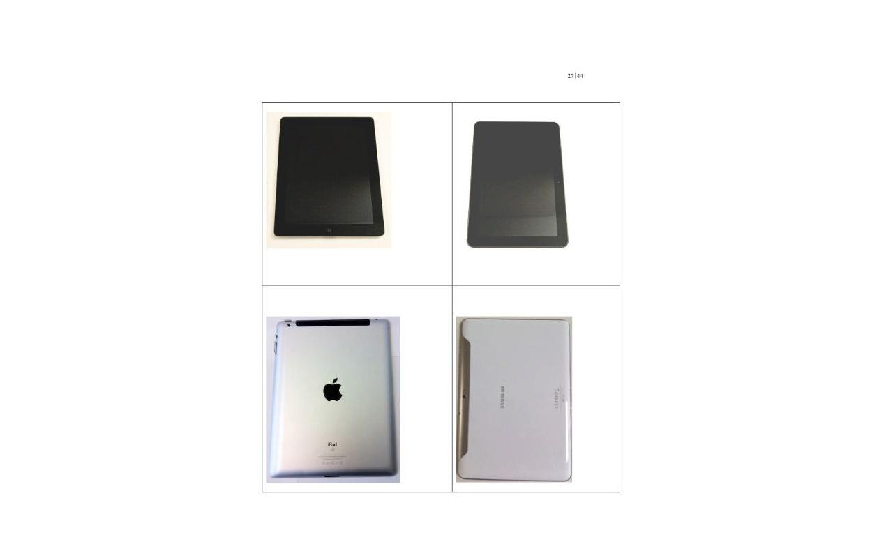 Afbeelding uit aanklacht van Apple tegen Samsung om Galaxy Tab 10.1 in Dusseldorf