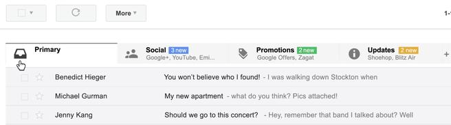 Nieuwe Gmail-inbox