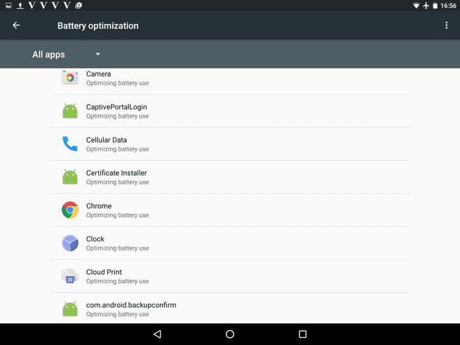 Marshmallow screenshot App Standby