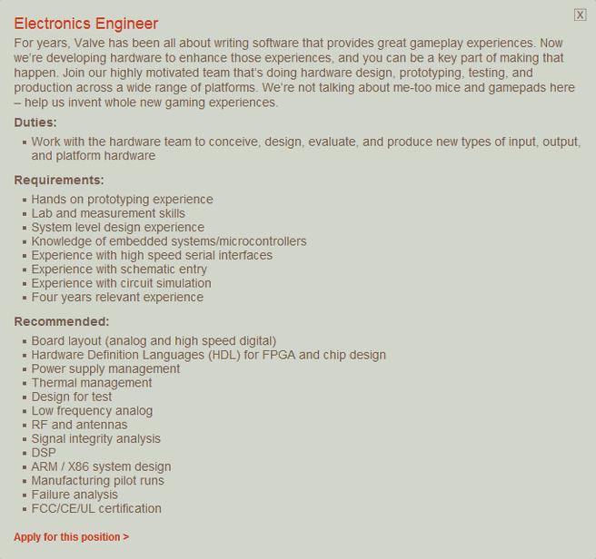 Valve's jobadvertentie voor electrotechnicus