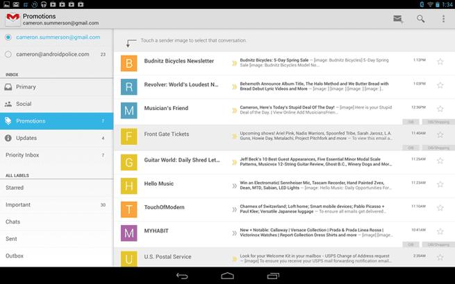 Gmail voor tablets met tabstructuur