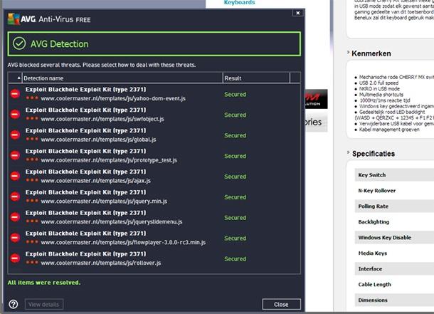 AVG herkent Blackhole Exploit Kit op website Coolermaster