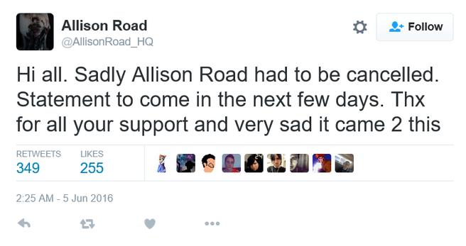 Tweet annulering Allison Road