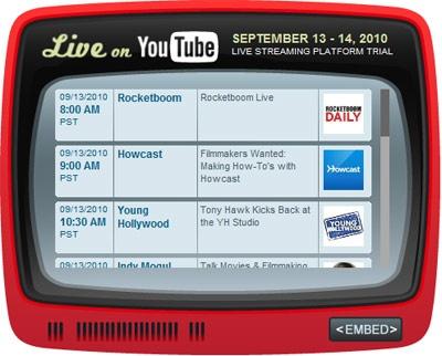 Live on YouTube-widget