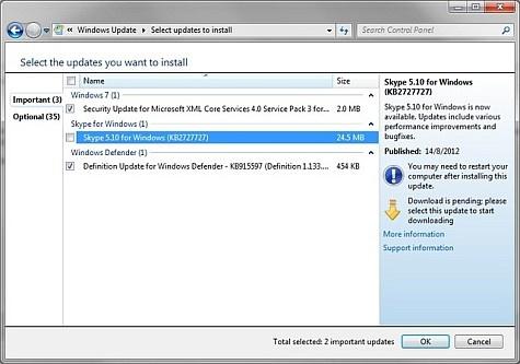 Skype Windows Update