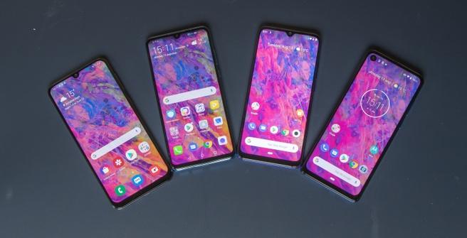 Midrange-smartphones round-up 2019, Samsung Galaxy A50, Huawei P30 lite, Xiaomi Mi A3 en Motorola One Vision