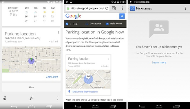 Parkeerlocatie in Google Now