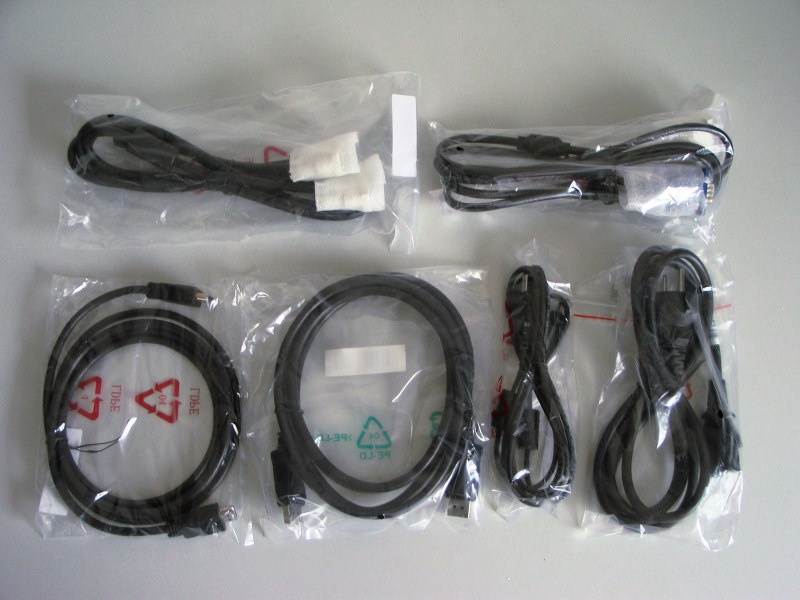 Kabels meegeleverd met de HP LP2475w