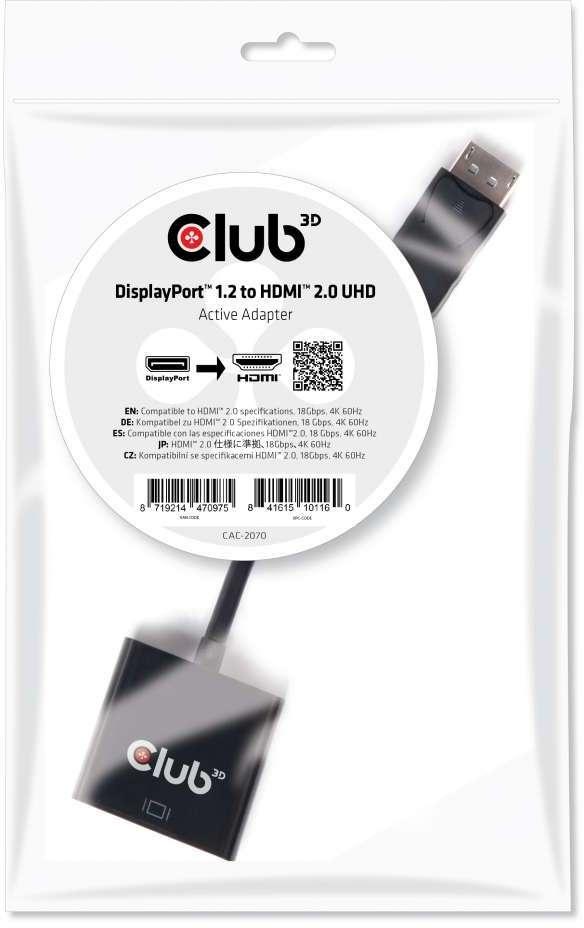 Club 3D CLUB3D DisplayPort 1.2 to HDMI 2.0 UHD Active Adapter (CAC-2070)