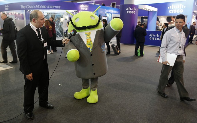 Android-poppetje op MWC 2013