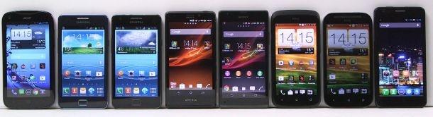 Acht Android-telefoons die te koop zijn in West-Europa
