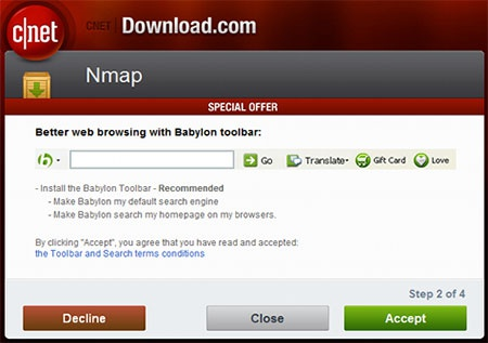 Cnet Download.com-malware bij Nmap