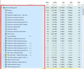 Windows 10 Taakbeheer ecomodus en Edge-classification