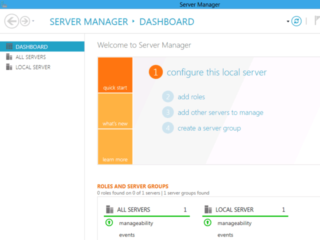 Windows Server 8 Manager
