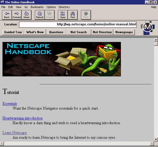 Netscape 0.9 (bron: Wikipedia)