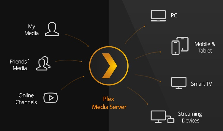 Schema van media, Plex Media Server en apparaten