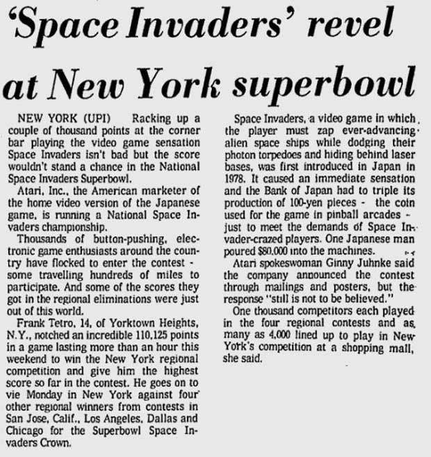 Artikel over het Space Invaders-toernooi (NY Times)