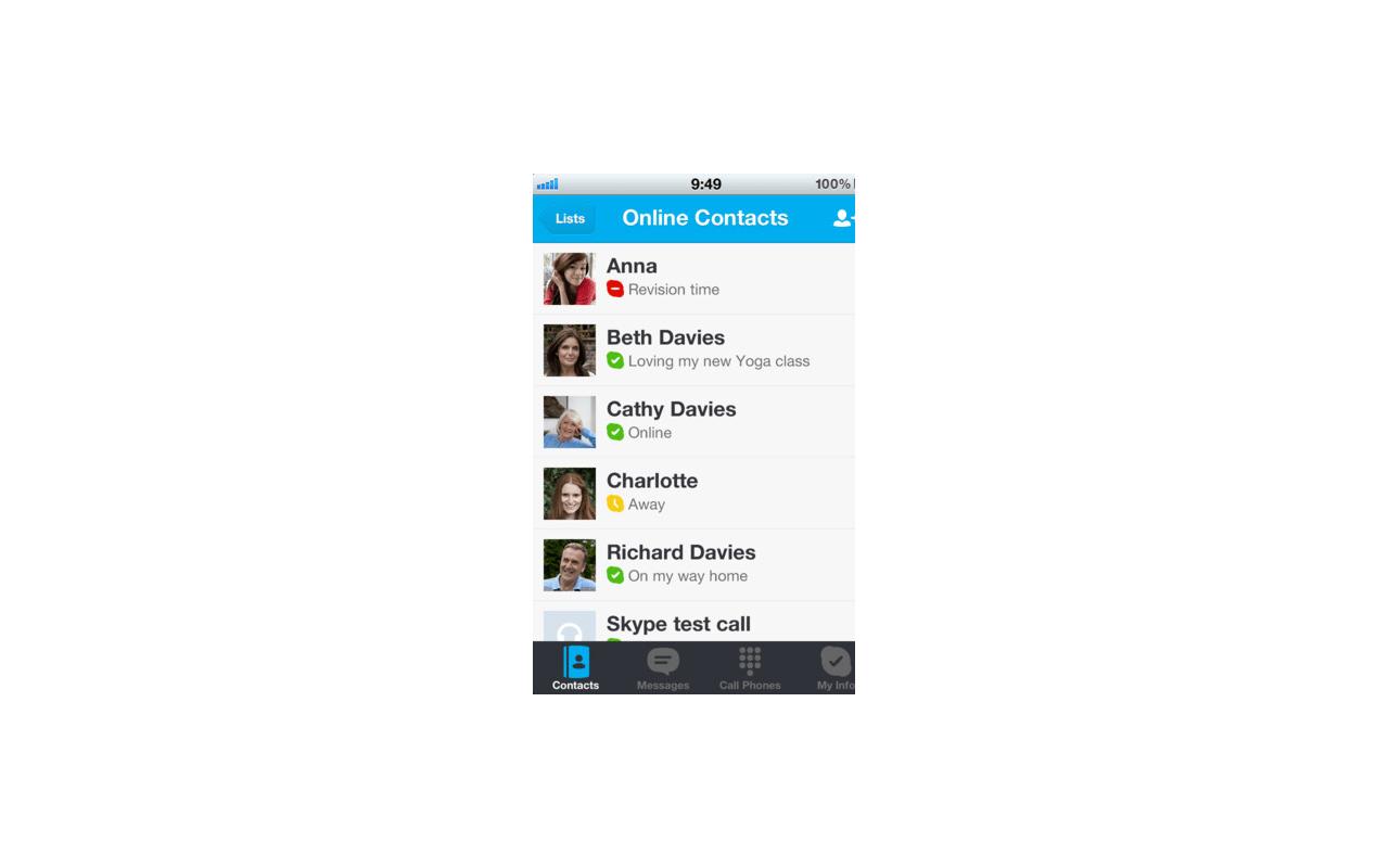 Skype for iOS screenshot