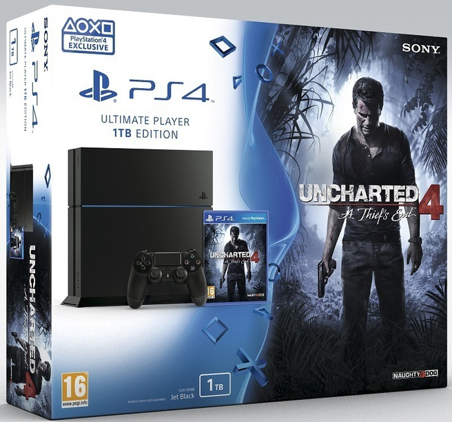 Sony PlayStation 4 1TB + Uncharted 4: A Thief's End Zwart