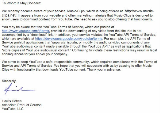 YouTube - brief naar ripsites