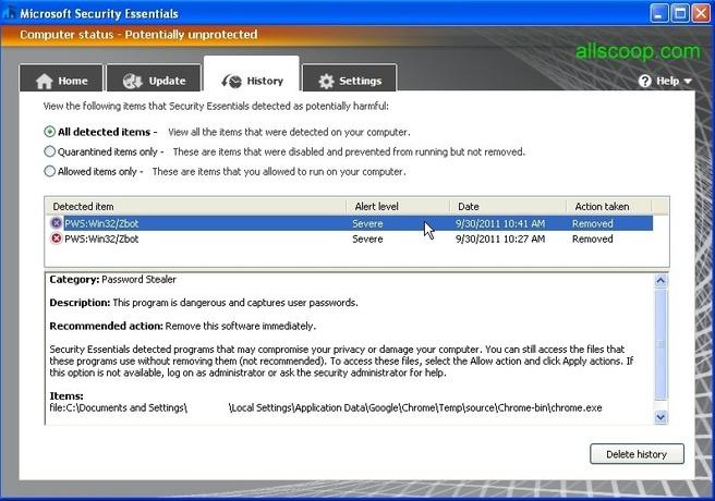 Security Essentials ziet Chrome aan voor malware