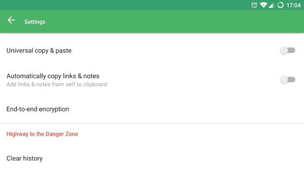 Pushbullet encryptie screenshot