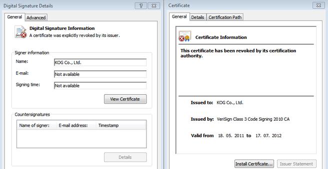 Ongeldige certificaten