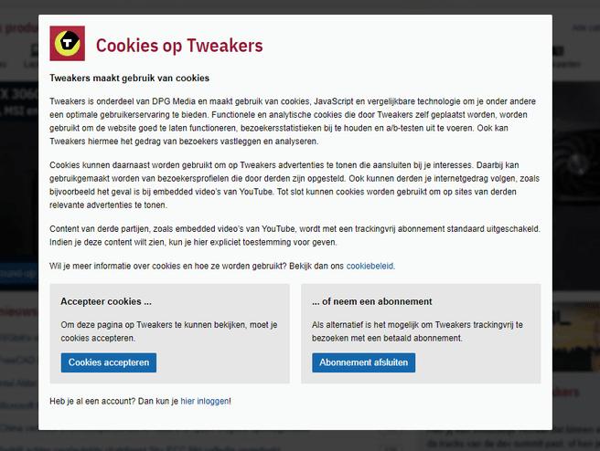 Nieuwe cookiewall