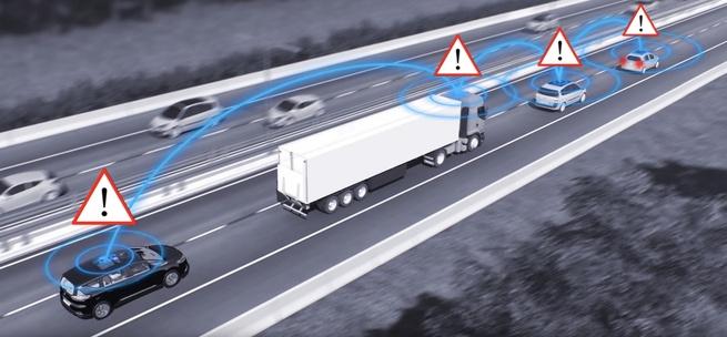 Communicatie tussen voertuigen die elkaar visueel niet zien
