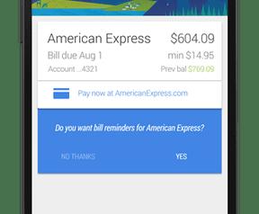 Google Now met betaalherinneringen